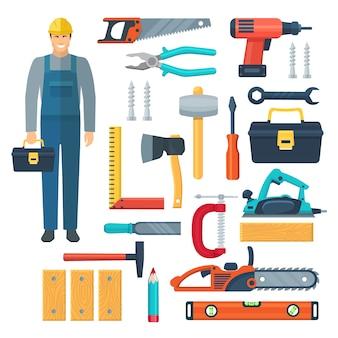 Conjunto de herramientas de color plano con carpintero en la caja de herramientas de monos y herramientas para aserrado y carpintería aislado ilustración vectorial