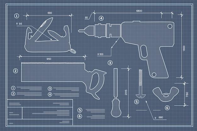Conjunto de herramientas de construcción de silueta