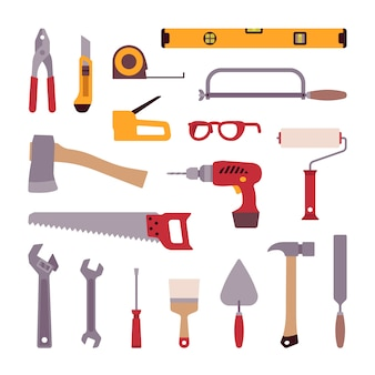 Conjunto de herramientas de construcción.