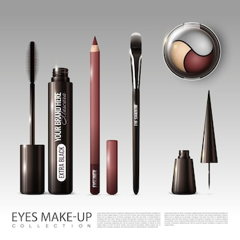 Conjunto de herramientas cosméticas profesionales realistas