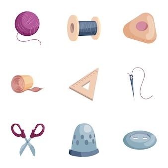 Conjunto de herramientas de costura, estilo de dibujos animados