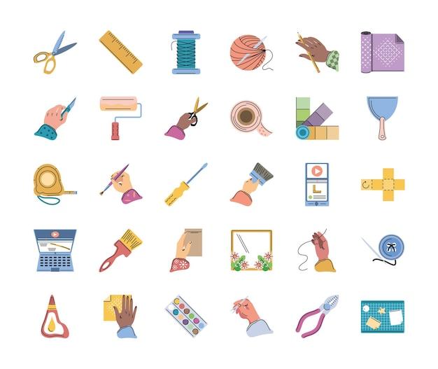 Conjunto de herramientas creativas hechas a mano de bricolaje.