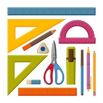 Conjunto de herramientas de dibujo. regla de medición escolar con centímetros y pulgadas. indicadores de tamaño con diferentes unidades de distancia. lápices, bolígrafos y tijeras. ilustración.
