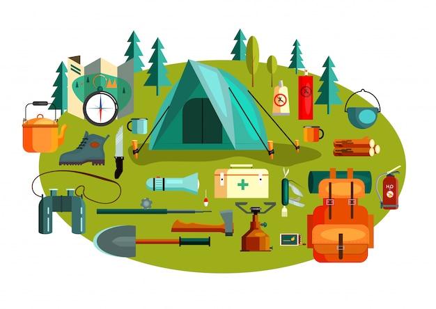 Conjunto de herramientas y equipo de camping.