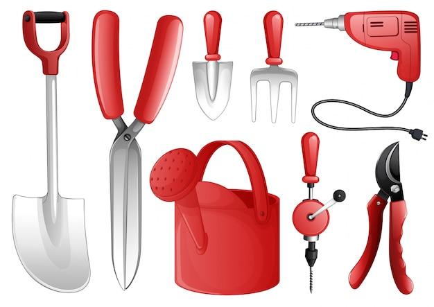 Conjunto de herramientas y equipos en rojo
