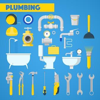 Conjunto de herramientas de fontanería y elementos de baño. íconos