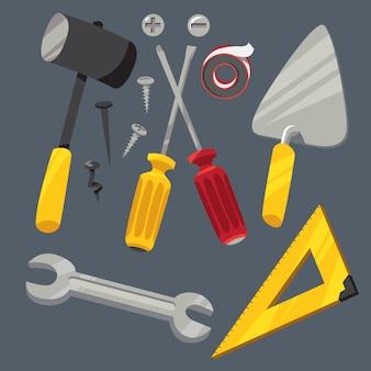 Conjunto de herramientas de hardware en estilo de dibujos animados