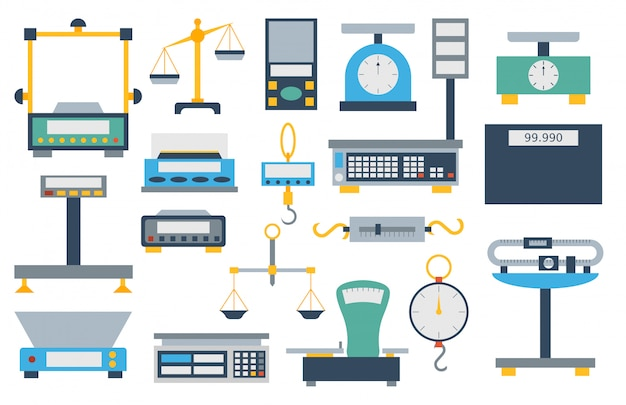 Conjunto de herramientas de instrumentación de medición de peso.