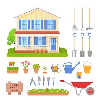 Conjunto de herramientas de jardín, ilustración exterior de la casa