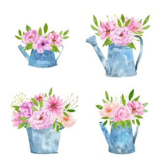 Conjunto de herramientas de jardinería de acuarela con ramos de flores