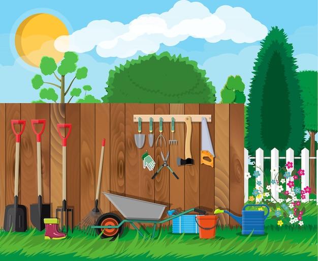 Conjunto de herramientas de jardinería. equipamiento para jardin