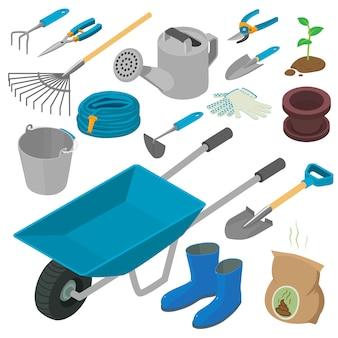 Conjunto de herramientas de jardinería, estilo isométrico