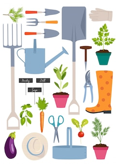 Conjunto de herramientas de jardinería.