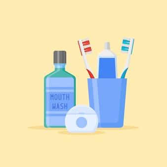 Conjunto de herramientas de limpieza dental. cepillos de dientes y pasta de dientes en vidrio, enjuague bucal, hilo dental aislado sobre fondo amarillo. estilo plano