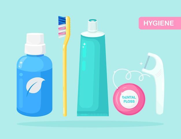 Conjunto de herramientas de limpieza dental.