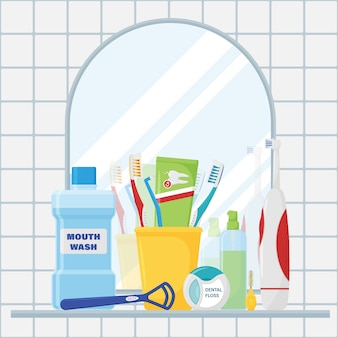 Un conjunto de herramientas para la limpieza de los dientes y el cuidado bucal.