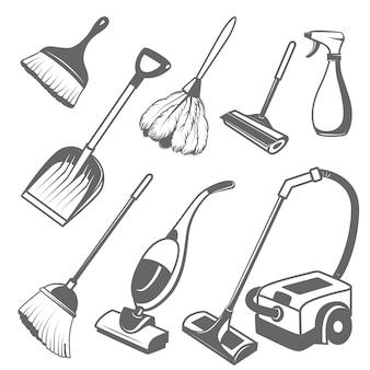 Conjunto de herramientas de limpieza sobre un fondo blanco.