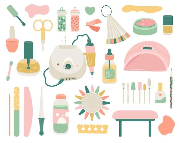 Conjunto de herramientas de manicura. cuidado de tus uñas.