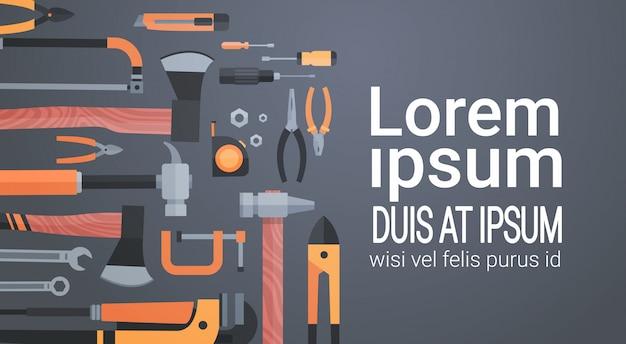 Conjunto de herramientas de mano de trabajo de reparación y construcción, colección de equipos