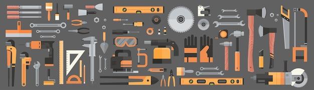 Conjunto de herramientas de mano de trabajo de reparación y construcción