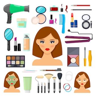 Conjunto de herramientas para maquillaje y beaty sobre blanco.