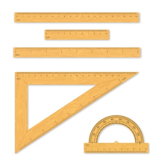 Conjunto de herramientas de medición. reglas, triángulos, transportador.