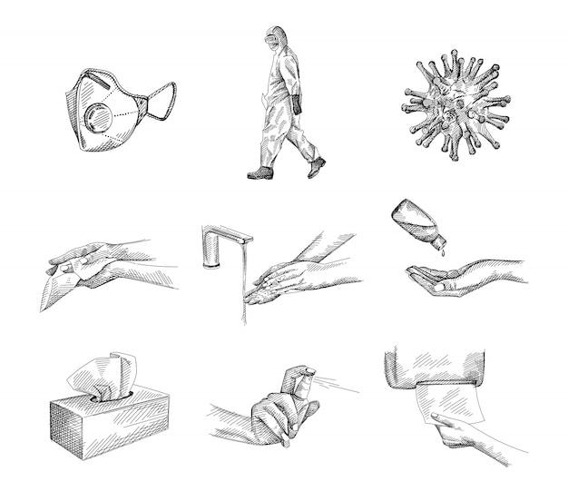 Conjunto de herramientas de medida de protección contra coronavirus / covid-19 dibujadas a mano. desinfección de ropa y mascarillas, antisépticos en gel y spray, papel, pañuelos, dispensador de servilletas y caja, lavado y limpieza de manos