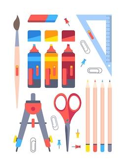 Conjunto de herramientas de papelería de oficina. equipo de trabajo y estudio marcadores azul rojo brújula geométrica con tijeras lápices para colorear sujetapapeles alfileres.