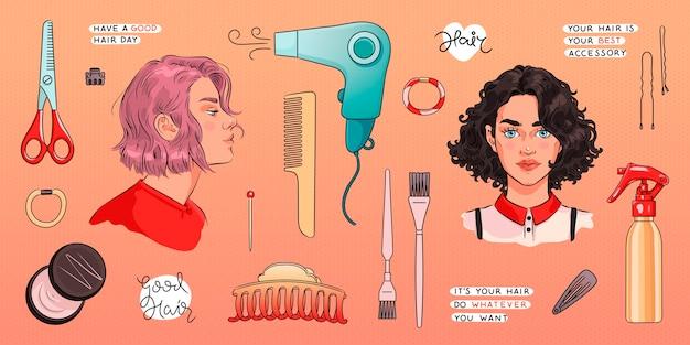 Conjunto de herramientas de peluquería y retratos de mujeres de belleza con variaciones de peinado