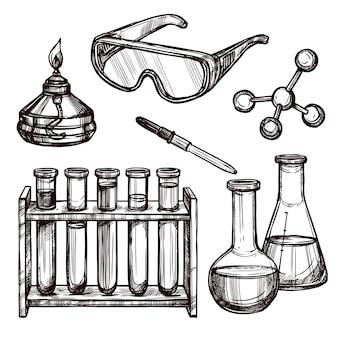 Conjunto de herramientas de química dibujado a mano