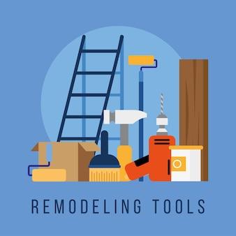 Conjunto de herramientas de remodelación con letras, diseño de ilustraciones vectoriales