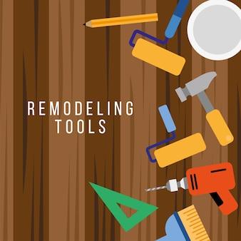 Conjunto de herramientas de remodelación con letras en piso de madera, diseño de ilustraciones vectoriales