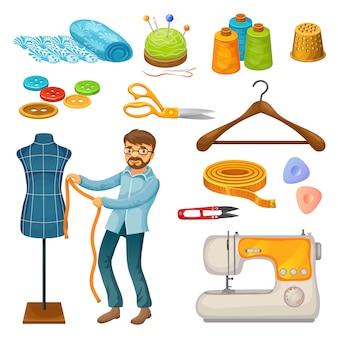 Conjunto de herramientas de sastre colorido