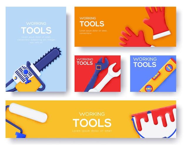 Conjunto de herramientas de trabajo de banners.