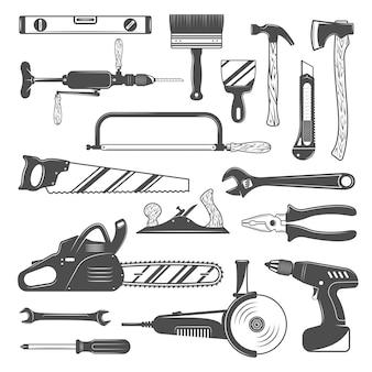 Conjunto de herramientas de trabajo monocromo