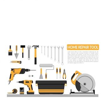 Conjunto de herramientas de trabajo de reparación de hogar de bricolaje vector logo