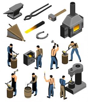 Conjunto de herrería isométrica con imágenes aisladas de las tiendas de forja y el carácter humano del falsificador de hierro