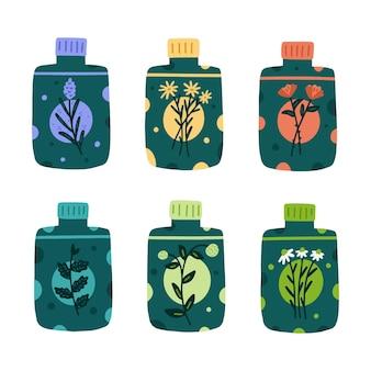 Conjunto de hierbas de aceite esencial dibujado a mano
