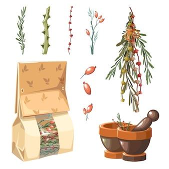 Un conjunto de hierbas medicinales y bolsa de papel.