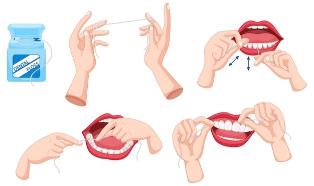 Conjunto de hilo dental y cómo utilizar la ilustración