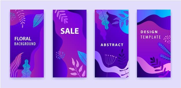 Conjunto de historia abstracta de instagram para redes sociales con fondo vibrante brillante degradado púrpura floral, banner de venta