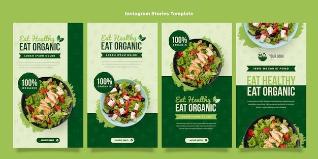 Conjunto de historia de instagram de comida orgánica de diseño plano
