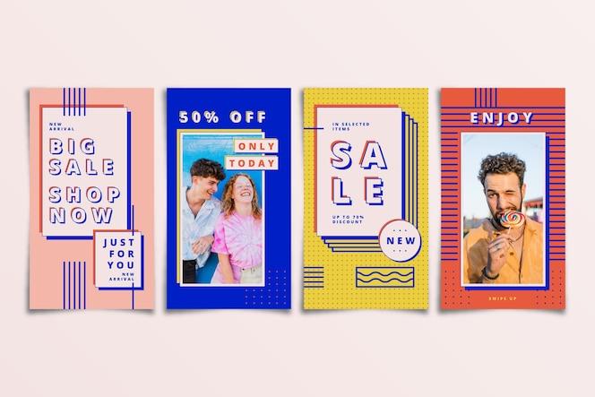 Conjunto de historias coloridas de instagram de venta