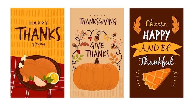 Conjunto de historias de instagram de acción de gracias dibujadas a mano