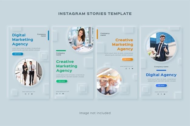 Conjunto de historias de instagram de agencia de marketing digital