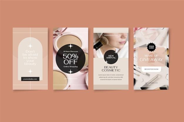 Conjunto de historias de instagram de belleza de diseño plano