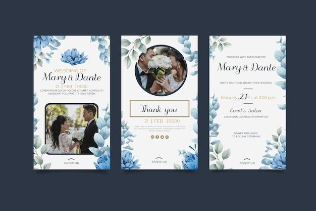 Conjunto de historias de instagram de boda floral