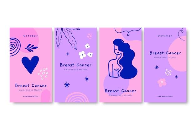 Conjunto de historias de instagram de campaña de cáncer de mama