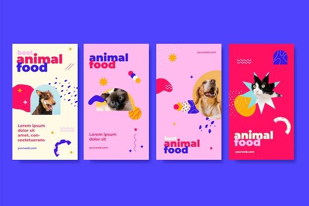 Conjunto de historias de instagram de comida animal.