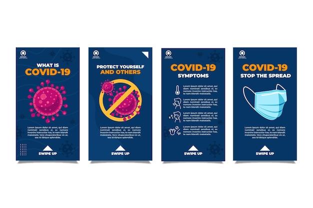 Conjunto de historias de instagram de coronavirus plano